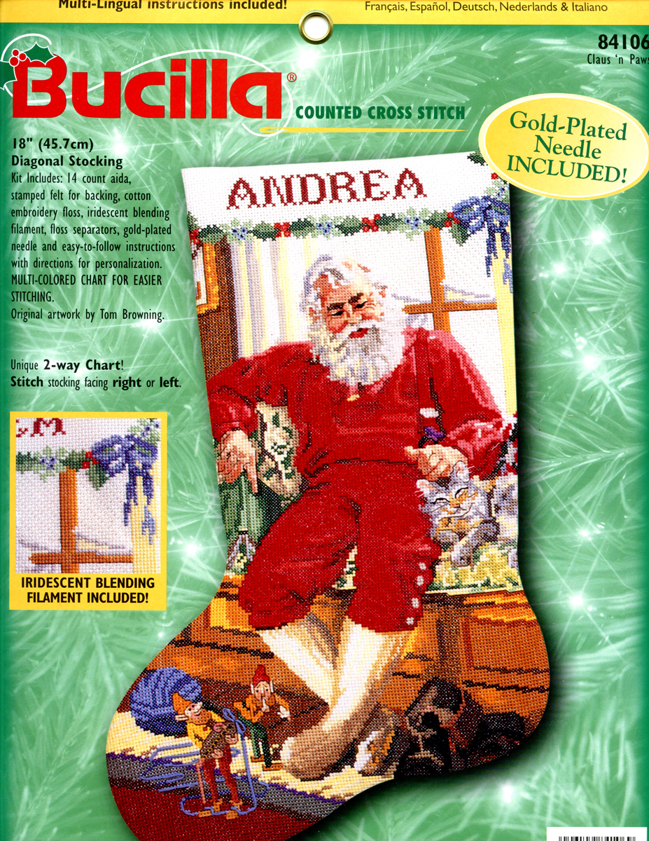 Bucilla Claus N Paws 18 Counted Cross Stitch Christmas Stocking